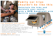 Sony Car DVD Video Headrest with *FREE* 325 Built In Games - Installed