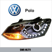 VW POLO Angel Eye LED Head Lamp front DRL Headlights Dayline Head Ligh