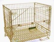 Wire mesh containers with foldable type or wheels for storage